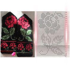 Double Knitting Patterns, Crochet Mittens Free Pattern, Fair Isle Knitting Patterns, Crochet Gloves, Knit Mittens, Knitting Charts, Spool Knitting, Knitting Socks, Hand Knitting
