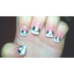 These are my panda bear nails! I first drew a white half circle at the top of my nails. Then added the ears and the facial features :) using a toothpick. I bent the end of the toothpick a little to give me a flat service so it could hold more nail polish :) Good Luck!