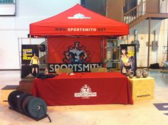 Sportsmith booth for Battle Over Red Lands CrossFit competition. High Intensity Training Workouts, Crossfit Competitions, Catalog Cover, Kettlebell, Battle, Abs, Marketing, Crunches, Kettlebells