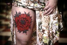 poppy tattoo by alice carrier, at anatomy tattoo in portland, oregon.