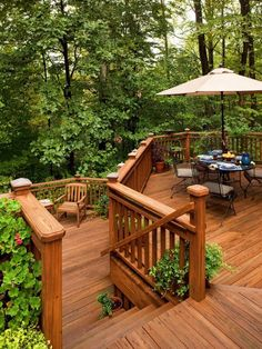 A natural wood stain gives this multi-level pressure-treated pine deck a rich color to stand out against the greenery while offering long-lasting protection and years of use.
