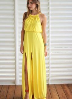 Backless Yellow Maxi Dresses at Bling Brides Bouquet online Bridal ...