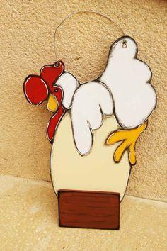 White Hen hanging to the door - door hanger with hen and egg de la boutique LULdesign sur Etsy