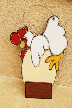 White Hen hanging to the door - door hanger with hen and egg de la boutique LULdesign sur Etsy