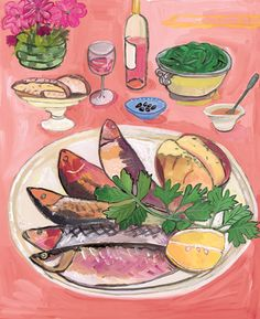 "maira kalman paintings | Above: Maira Kalman, "" Plate of Fish "", 2011. I think it's interesting ..."