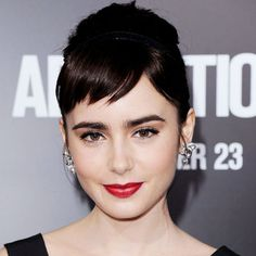 Lily Collins' Changing Looks Lily Collins - Transformation - Hair - Celebrity Before and After Long Fringe Hairstyles, Hairstyles With Bangs, Pretty Hairstyles, Updo Hairstyle, Bride Hairstyles, Short Side Bangs, Long Hair With Bangs, Short Fringe Bangs, Thick Bangs