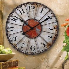 FRENCH TUSCAN ANTIQUE Wall or Mantel OLD WORLD CLOCK…