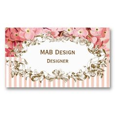 Vintage floral business cards choice image card design and card custom business card stamp custom rubber stamp personalized vintage pink floral business card reheart choice image reheart Images