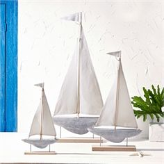 Twos Company Sailors Delight Sailboat 3 Piece Sculpture Set on Stand Yves Delorme, Duvet, Concrete Wood, Cement, Beverage Tub, Two's Company, Fine Linens, Summer Crafts, Decorative Objects