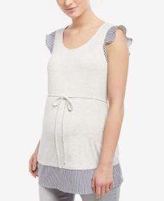 Motherhood Maternity Flutter-Sleeve Top - Gray XL