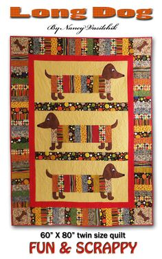 Hey, I found this really awesome Etsy listing at https://www.etsy.com/listing/176707291/long-dog-twin-size-quilt-just-released