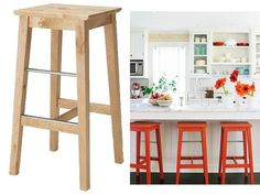 Love the orange! Quick bar stool makeover for under €10 | House and Home