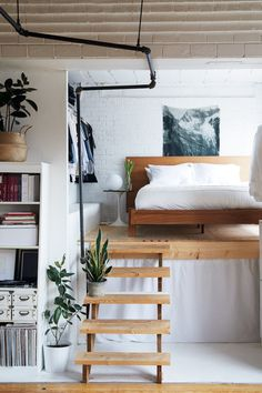 Lofted bedroom.