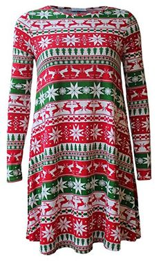 84037b8b53c Women Long Sleeve Printed Christmas Swing Dress     Want to know more