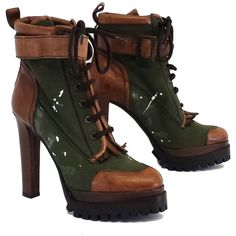 Pre-owned Dsquared2 Green & Brown Leather Canvas Boots (€410) ❤ liked on Polyvore featuring shoes, boots, none, brown leather boots, brown boots, real leather shoes, real leather boots and green canvas shoes