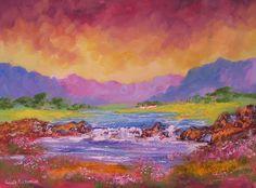 "For Sale: Dam Waterfall by Louis Pretorius | $330 | 22""w 16""h | Original Art | https://www.vangoart.co/louis-pretorius/dam-waterfall @VangoArt"