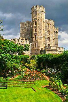 Windsor Castle towers and moat garden in Berkshire, England, UK