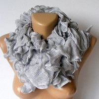 gray ruffle scarf ,Ready to Shipping,New Trend 2013,Cotton scarf,knitting scarf,neckwarmer,fashion cotton accessories by SENO
