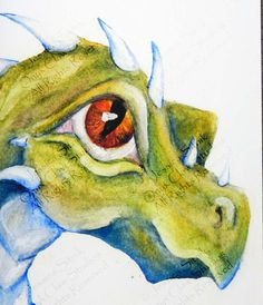 Blank Dragon Card watercolor painting green blue and orange 5x7 A7 with envelope large eye dragon print fantasy art