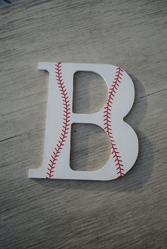 Boys Baseball Sports Decorative Wooden Wall by LettersFromAtoZ - do these with an R and a B for the boys bathroom.