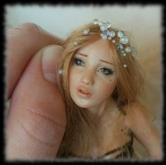 16 Spring Fairy sculpture ooak, 1 inch head by HalloWeenPixie.deviantart.com