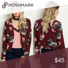 Merlot floral blazer jacket 🍷 NEW Super lightweight and fashionable floral blazer. Rich maroon color and chic floral pattern. Lined. Can easily be dressed up or down. Please comment with any questions 😊 Jackets & Coats Blazers