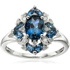 10k White Gold London Blue Topaz and Diamond Ring (1/10cttw, I-J Color, I3 Clarity), Size 7