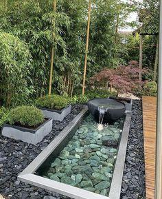 Design Patio, Modern Garden Design, Landscape Design, Modern Pond, Modern Japanese Garden, Japanese Garden Landscape, Modern Courtyard, Zen Design, Bamboo Design