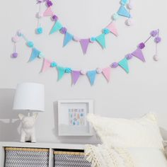 Pom pom and pennant garland - Pomp-a-Doodle yarn - party decor - DIY parties - make your own banner - pom pom yarn Pom Pom Garland, Bunting Garland, Pom Poms, Garlands, Make Your Own Banner, Color Crafts, Felt Projects, Diy Party Decorations, Perfect Party
