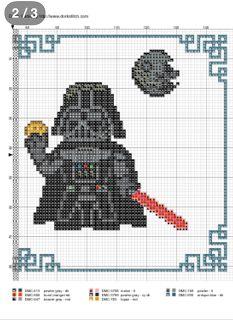 040 Patrón de puntada cruzada de Darth Vader-Star Wars-xstitch Moderno Bordado