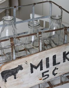 I love collecting old glass milk bottles, glass cottage cheese bottles and glass sour cream bottles. Just a DAIRY thing! =)