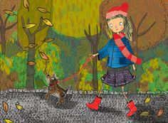 Autumn Walk - illustration by Rachelle Panagarry #illustration #childrensbookillustration #kidlitart #autumn