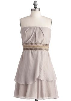 Capital Grains Dress - Casual, Tan, Solid, Tiered, Woven, Strapless, Mid-length