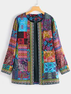 O-NEWE Vintage Ethnic Style Floral Print Plus Size Cotton Jacket - Newchic Plus Size Outerwear Mobile Poncho Mantel, Couture Cuir, Style Floral, Style Ethnique, Style Japonais, Ethnic Print, Bohemian Print, Cotton Jacket, Ethnic Fashion