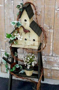 "Cheryl Harrison says, "" My ladder, got the idea from you at Flea Market Gardening!"""