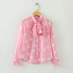 New 2016 runway design spring new cute women loving heart print pink black bow neck chiffon blouse shirt