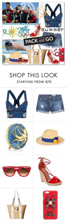 """Pack and Go:  Rio"" by calamity-jane-always ❤ liked on Polyvore featuring Valentino, AG Adriano Goldschmied, Estée Lauder, Prymal, Thierry Lasry, Aquazzura, Emma Fox, Dolce&Gabbana, FOSSIL and Packandgo"