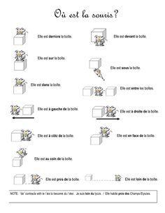 Les prépositions de lieu worksheet AND matching flashcards! French Flashcards, French Worksheets, French Teaching Resources, Teaching French, Spanish Activities, Teaching Spanish, How To Speak French, Learn French, French Prepositions