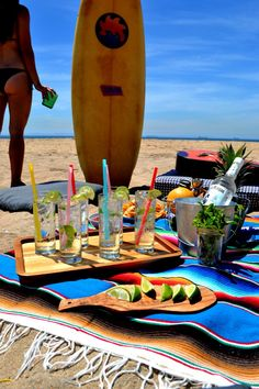 A round of fruity cocktails after a ridding some waves. Delicious recipe! Beach Party! Yay! ==