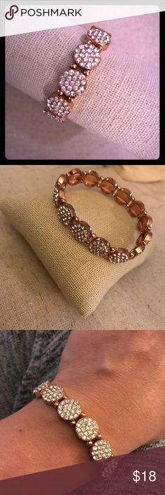 Rose-gold plated stretch bracelet Rose-gold plated and crystal studded stretch bracelet. Golden Stella Jewelry Bracelets