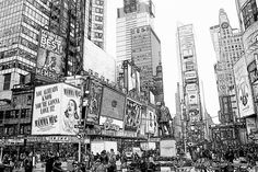 Black & White Sketches: New York City Sketch - Times Square Ink Drawing - Sketch 8x10 architecture, NYC, wall decor on Etsy, $37.00