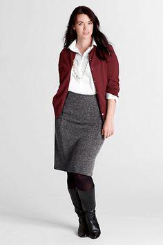 Women's Plus Size Tweedy Ponté Knit Panel Herringbone Skirt from Lands' End