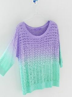 Gradient colorfull knitwear sweater  Color:purple,yellow  Free size  Shoulder:59cm chest:106cm sleeve length:26cm length:54cm