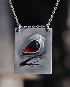 Bird garnet necklace