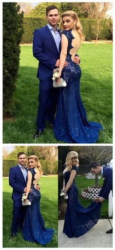 Mermaid Prom/Evening Dress - Navy Blue V-Neck Floor Length Cap Sleeves Lace @dresstell mermaid evening dresses, navy evening dresses, backless evening dresses