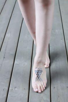 geometric tattoo foot