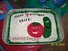 Super Easy Veggie Tales Cake... This website is the Pinterest of birthday cake ideas