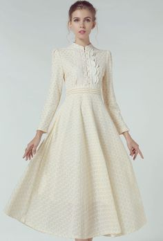 Light Yellow Stand Collar Vintage Lace Dress 38.50