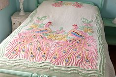 peacock chenille bedspread shabby chic vintage pink green white AWESOME RARE full queen