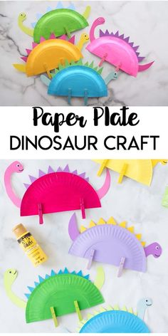 This Paper Plate Dinosaur is a great craft for dinosaur loving kids! Grab a few supplies around the house to make your favorite prehistoric friends. diy projects for teens friends Paper Plate Dinosaur Craft Paper Plate Crafts For Kids, Fun Crafts For Kids, Craft Activities For Kids, Art For Kids, Craft Kids, Kids Craft Projects, Paper Plate Art, Kids Diy, Paper Plate Animals
